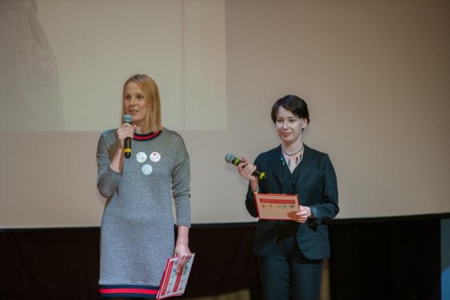 Дина Корзун и Чулпан Хаматова на церемонии открытия выставки