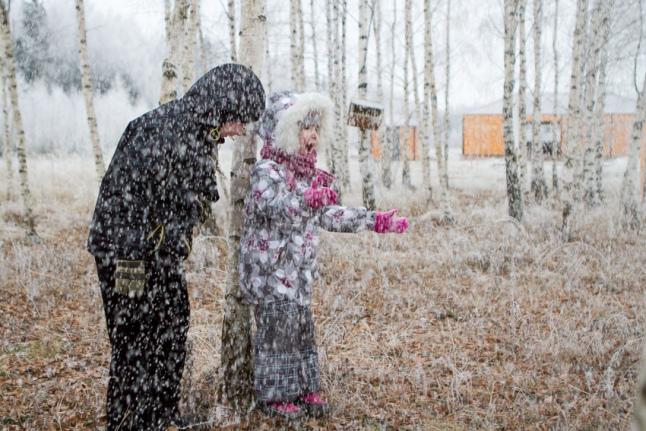 Первый снег в лагере