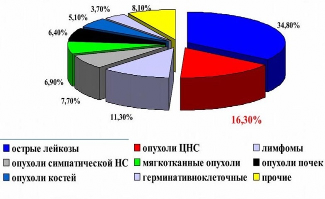 Сравнительная частота различных опухолей у детей (по данным МЗ РФ)