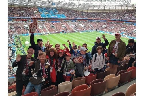Елена вместе с подопечными фонда на Чемпионате мира по футболу в Москве