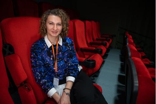 В просмотровом зале Московской школы кино