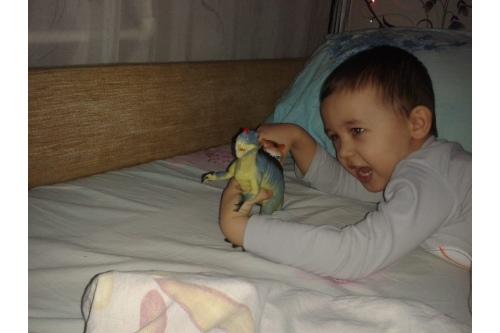 Максим не расстается с динозаврами даже ночью