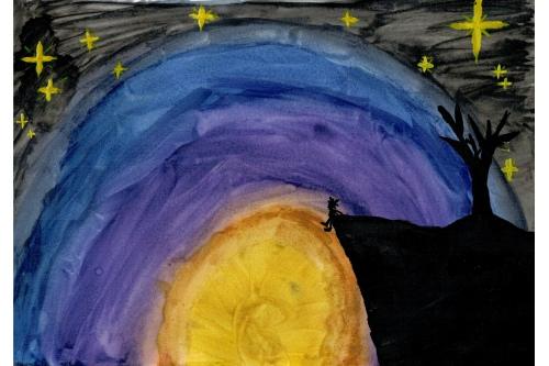 «Когда я только увидела этот рисунок, немного взволновалась, — вспоминает мама Насти. — Черные цвета на детском рисунке пугают. Но Настя успокоила: сказала, что это закат»
