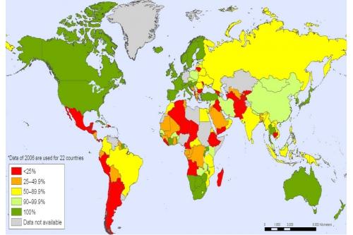 Доля безвозмездных донаций по разным странам. Данные ВОЗ, 2007.