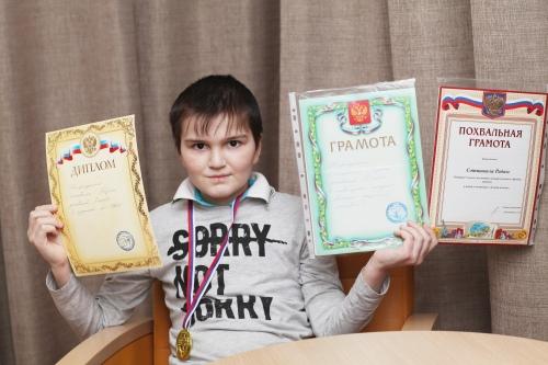 «Дипломированный» школьник Радим Сотишвили в Центре детской гематологии