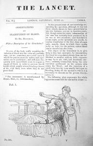 "Публикация Бланделла в журнале ""Ланцет""."